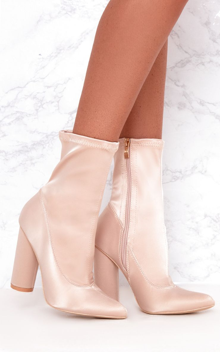 Nude Stretch Satin Sock Ankle Boots