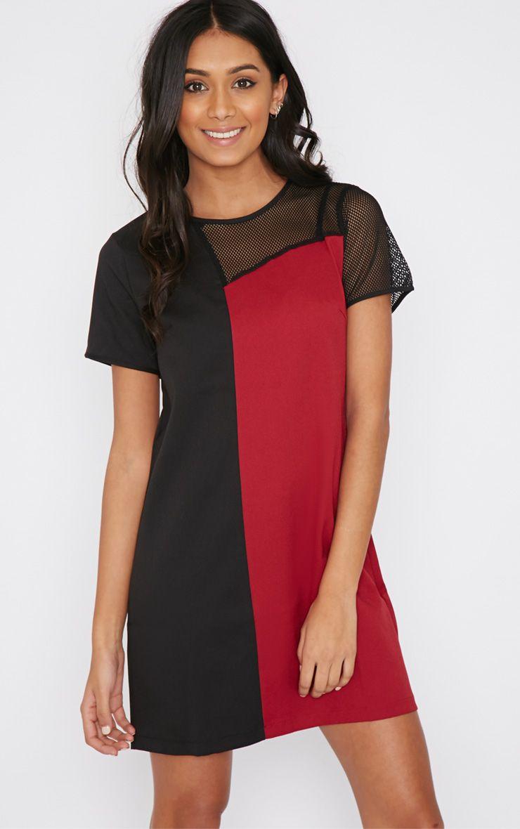 Jolanda Red Airtex Panel Shift Dress 1