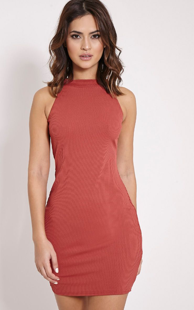 Basic Dark Rose Ribbed Vest Bodycon Dress 1
