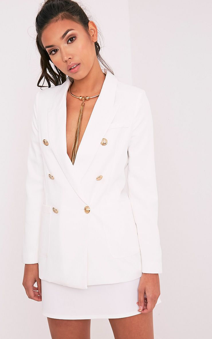 Pari White Double Breasted Military Style Blazer