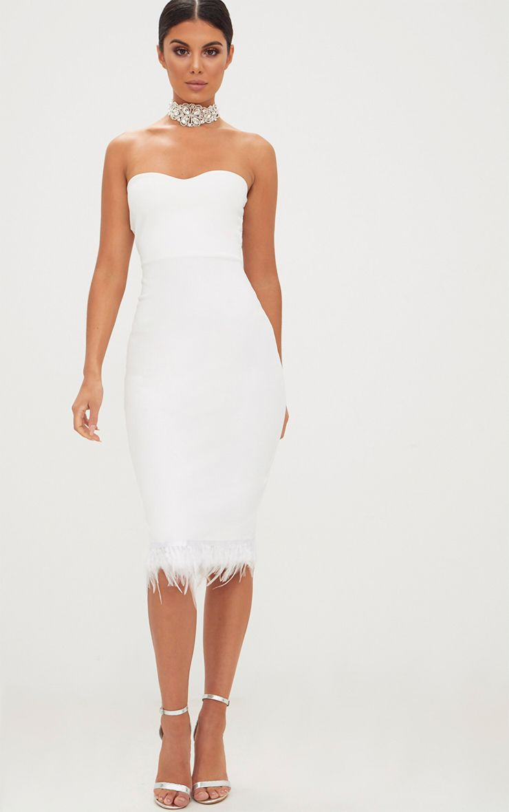 Feather hem cocktail dress