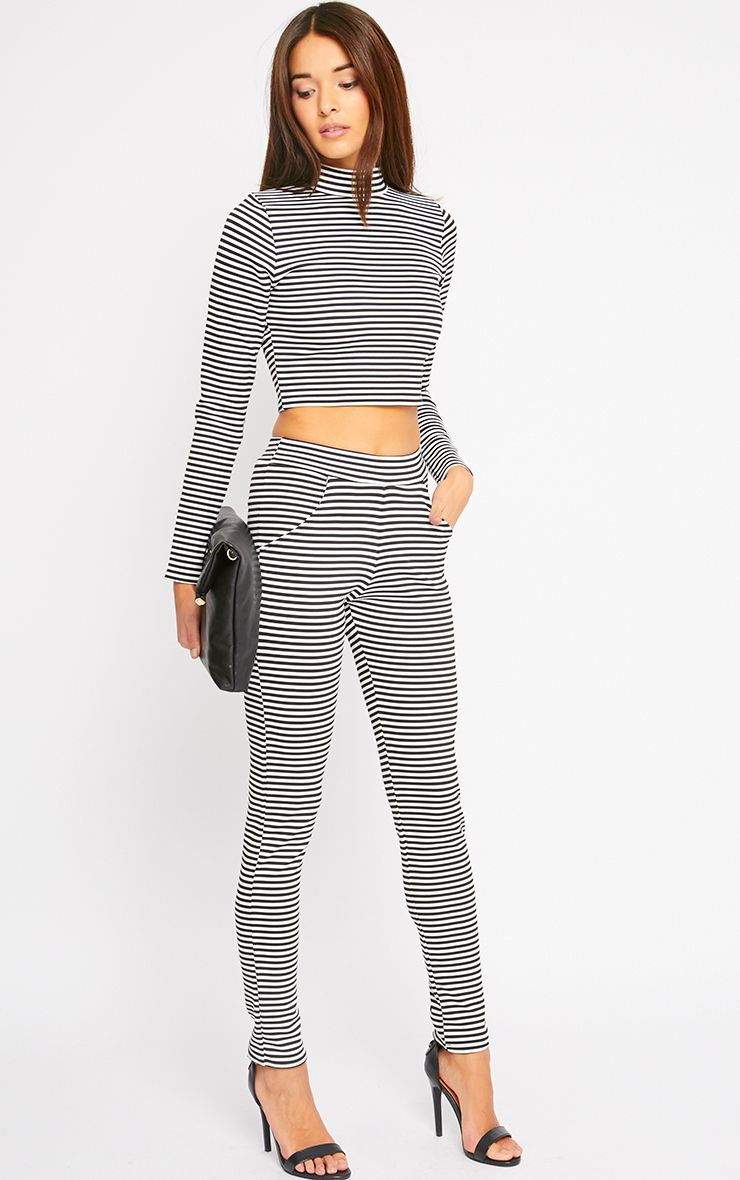 Allegra Monochrome Striped Cigarette Trousers 1