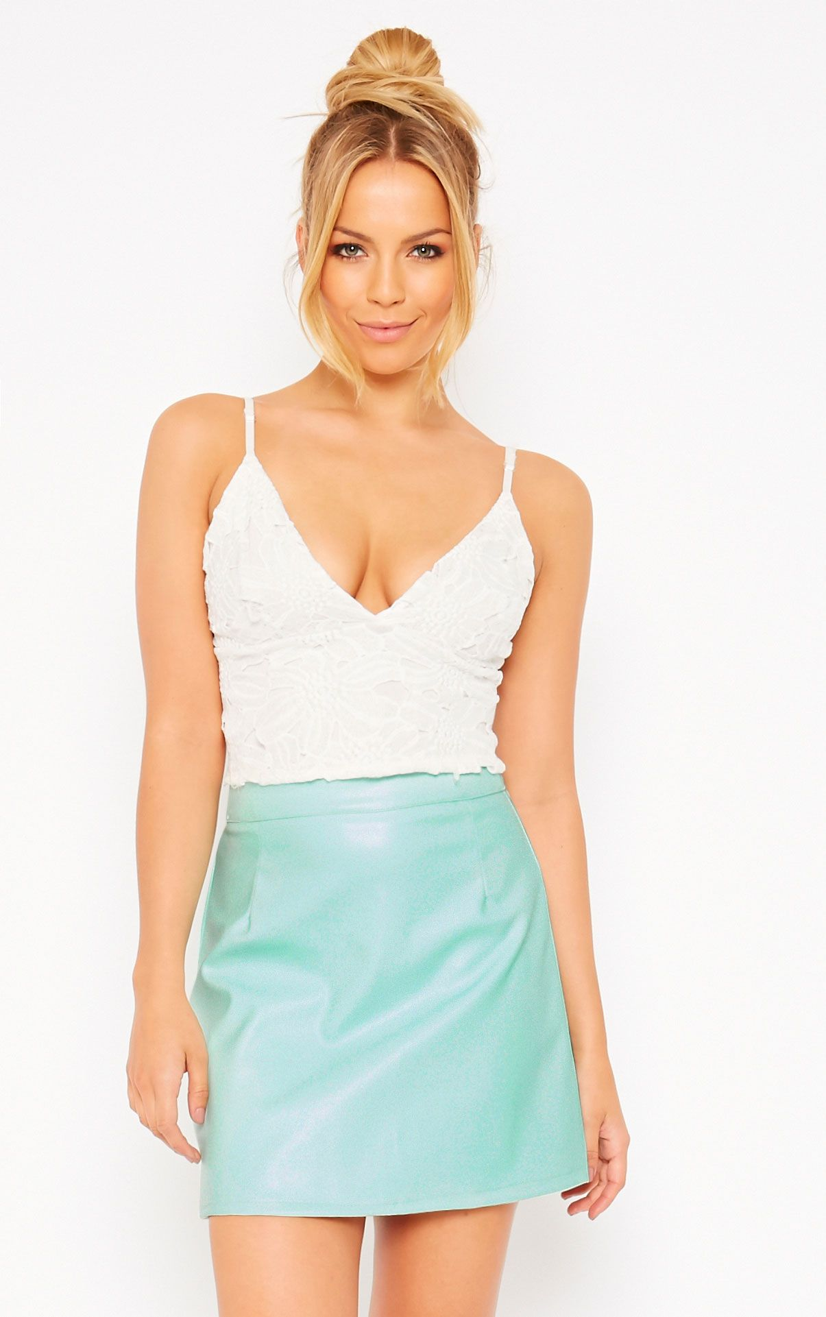 Rose Mint Faux Leather A-Line Mini Skirt 1