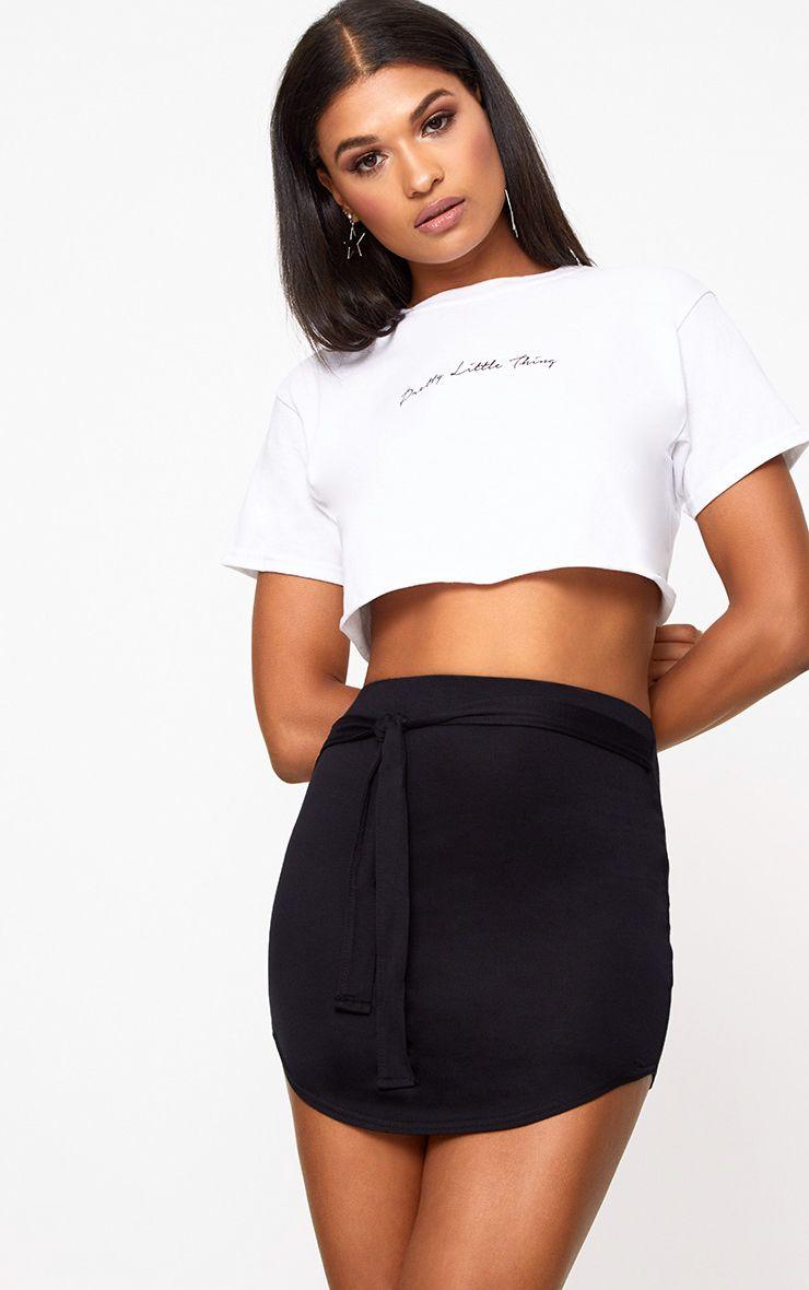 Black Tie Belt Curve Hem Mini Skirt