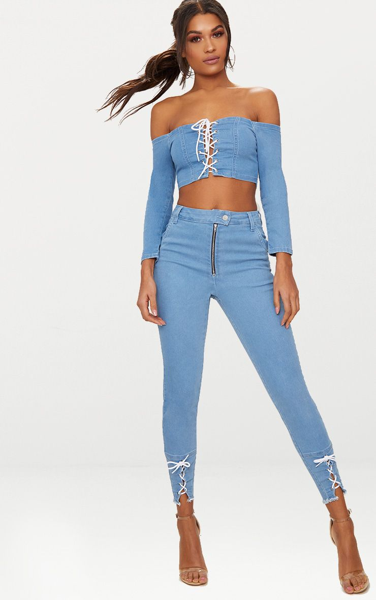 MID WASH LACE UP SKINNY JEAN