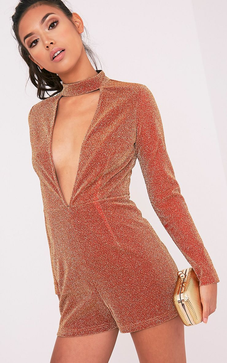 Kendra Bronze Sparkle Choker Neck Playsuit