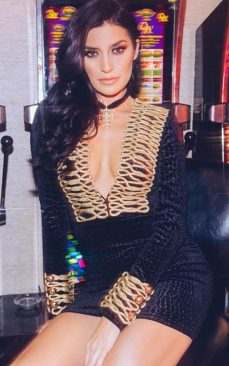 Alania Black Velvet Rope Detail Bodycon Dress