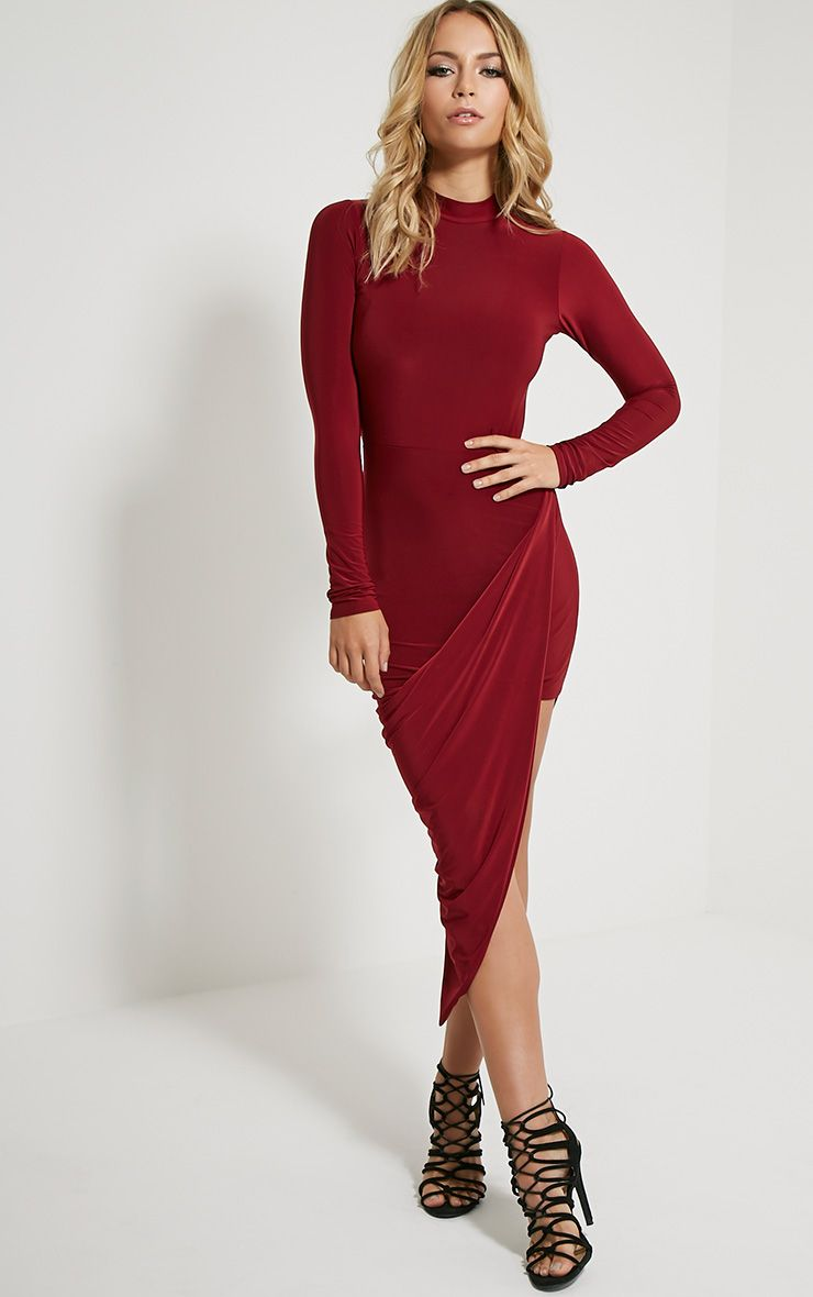 Saffy Wine Long Sleeve Drape Dress 1