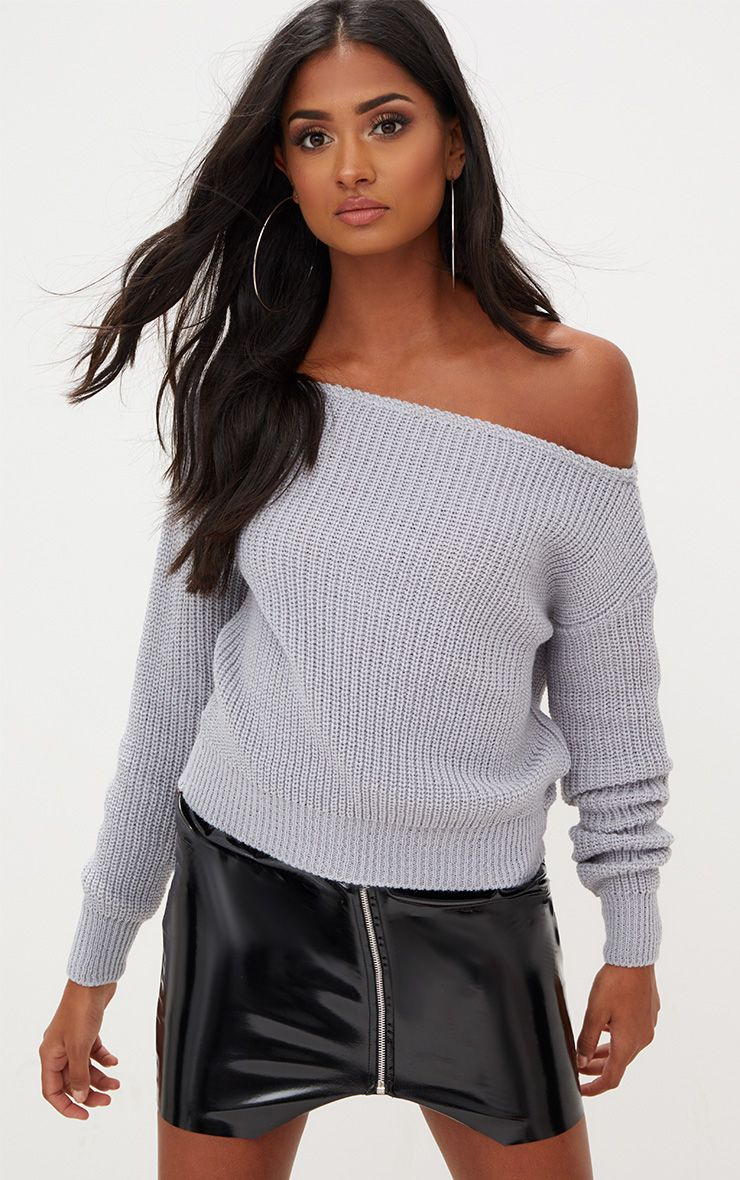 Grey Off The Shoulder Crop Jumper 1