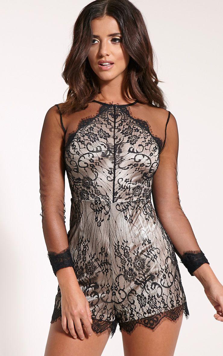 Hannie Black Lace Mesh Sleeve Playsuit 1