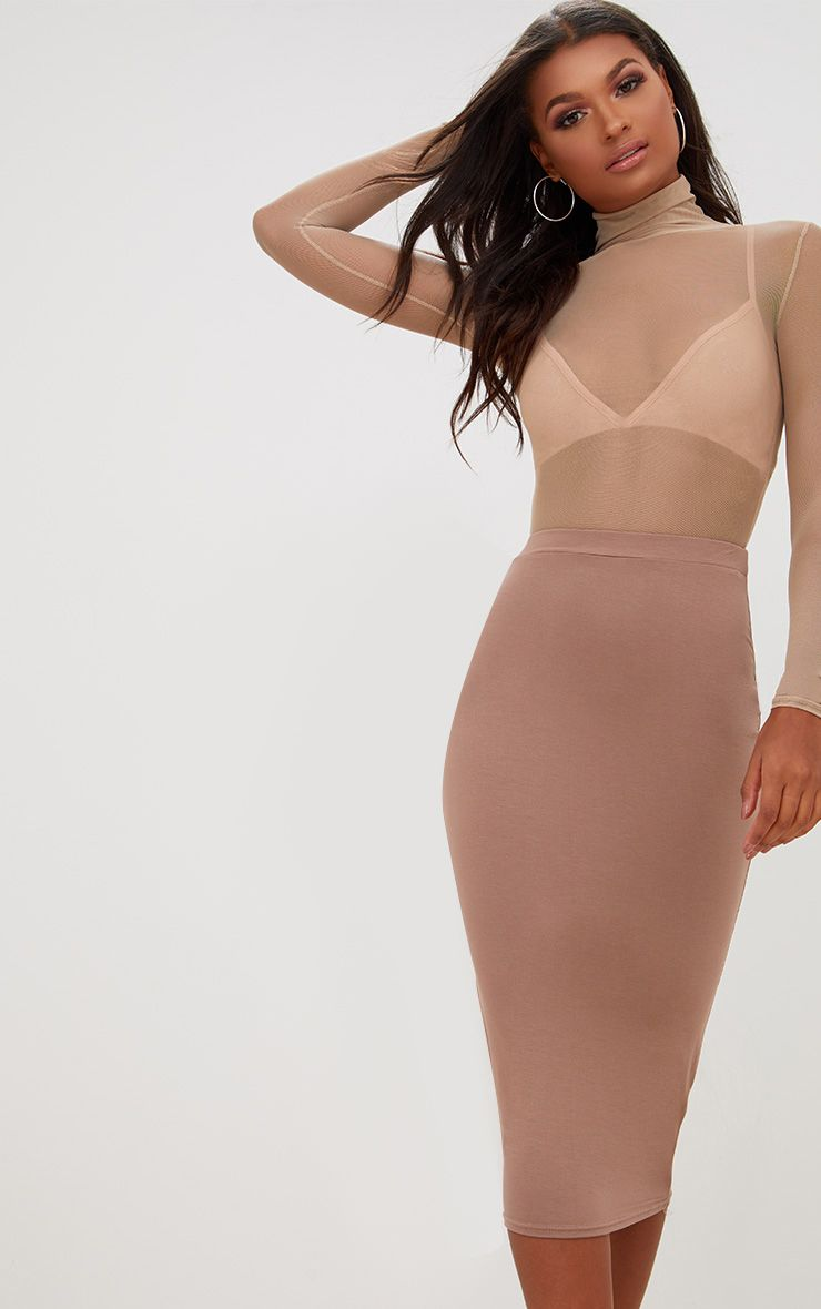 Taupe Ultimate Jersey Longline Midi Skirt