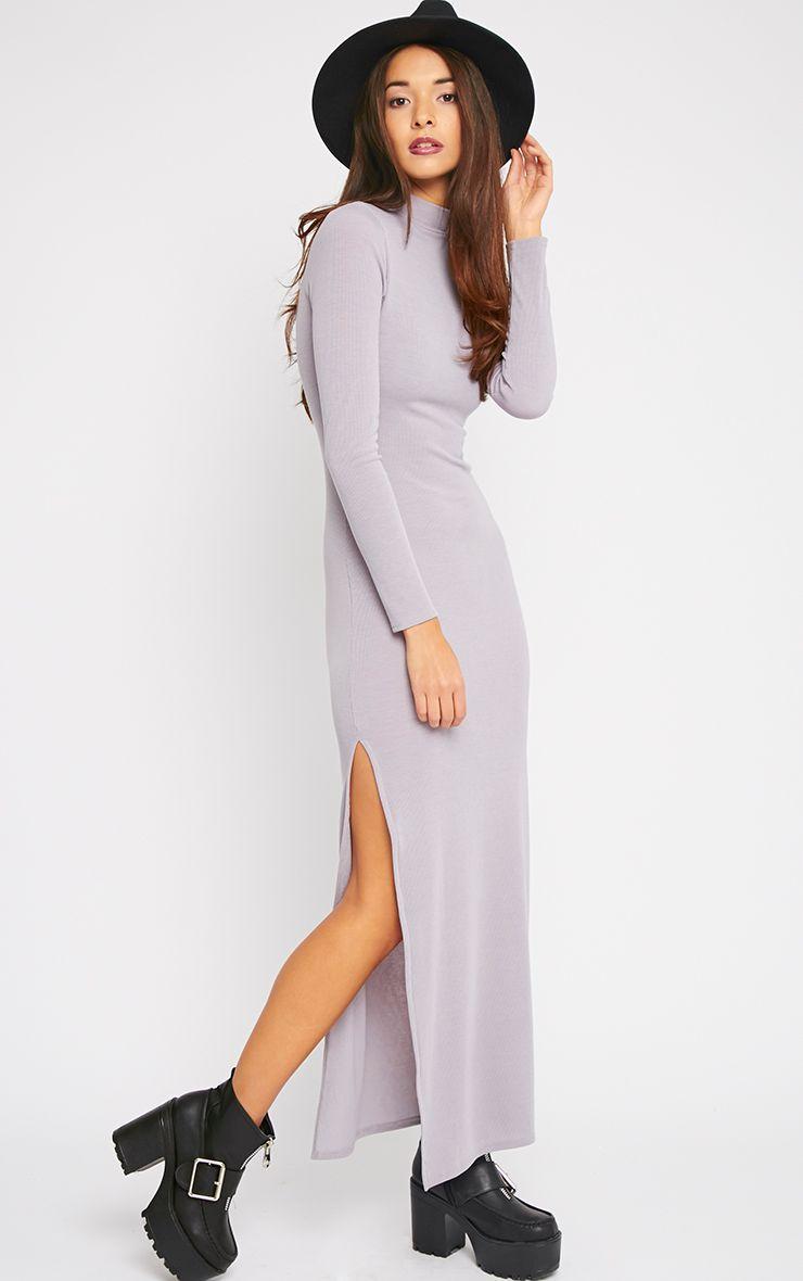 Basic Grey Turtle Neck Maxi Dress 1