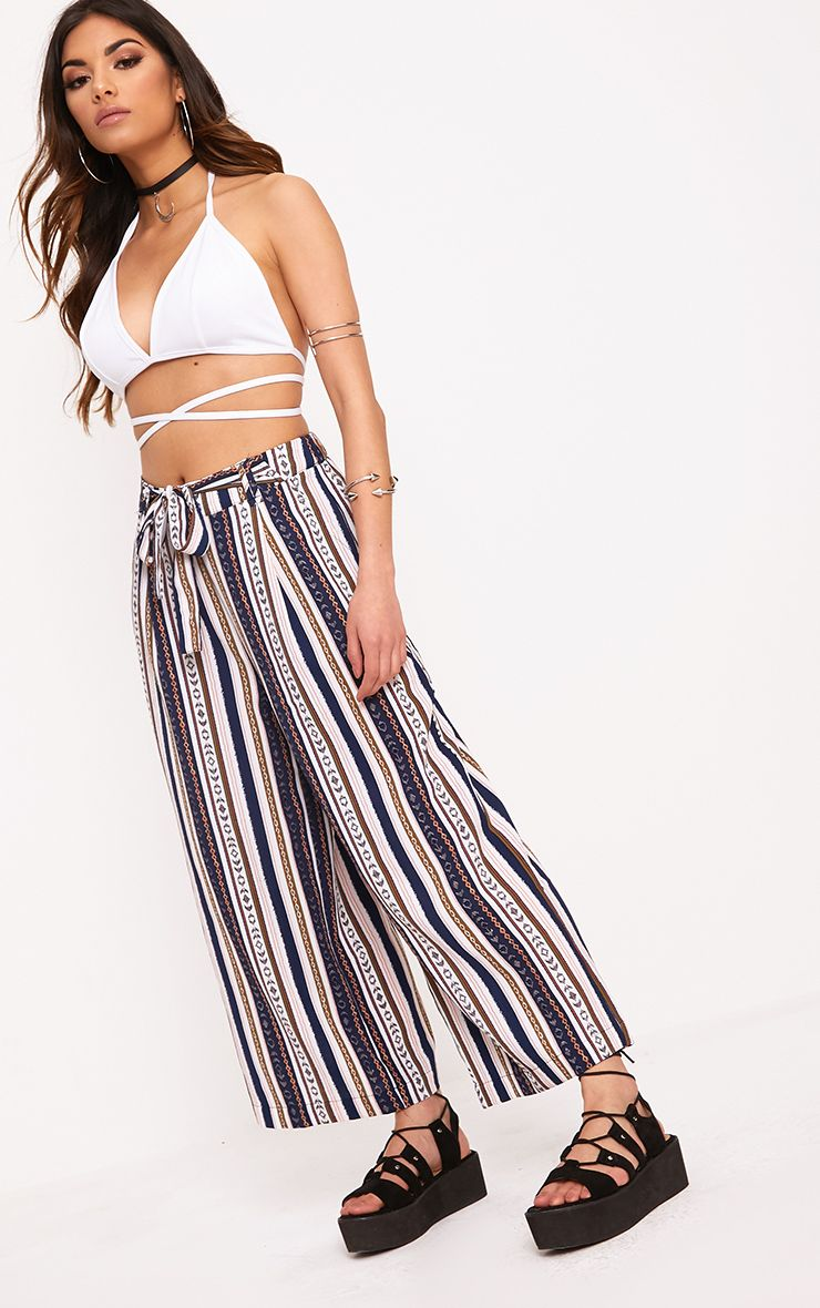 Navy Stripe Tie Waist Cropped Trousers
