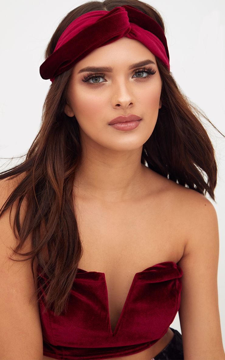 Burgundy Velvet Headband