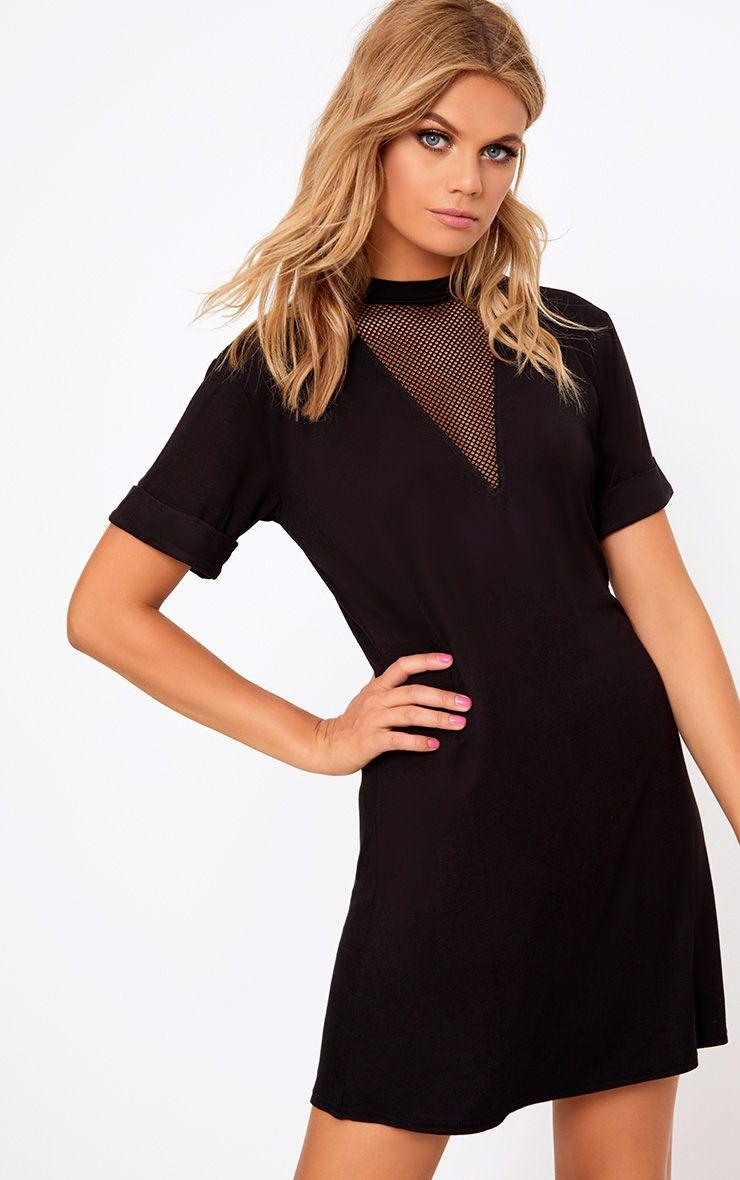 Black Fishnet Insert T Shirt Dress