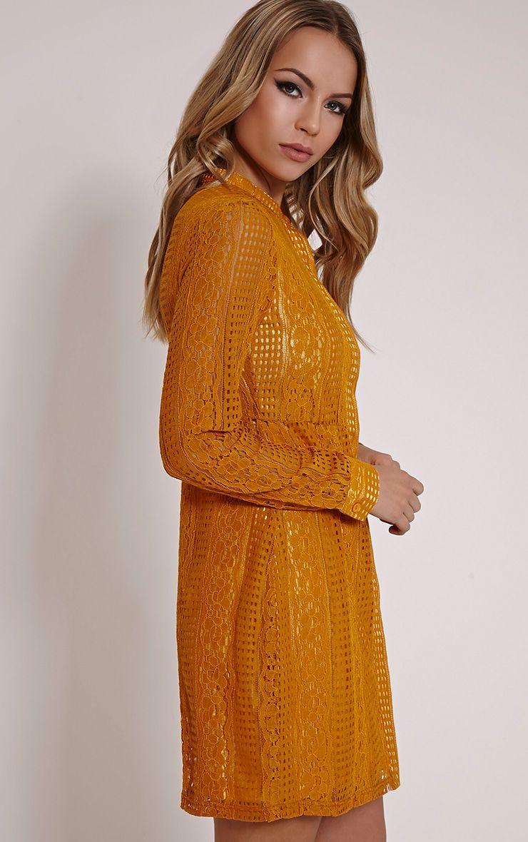 Maisi Mustard Long Sleeve Lace Shirt Dress - Dresses - PrettylittleThing | PrettyLittleThing USA