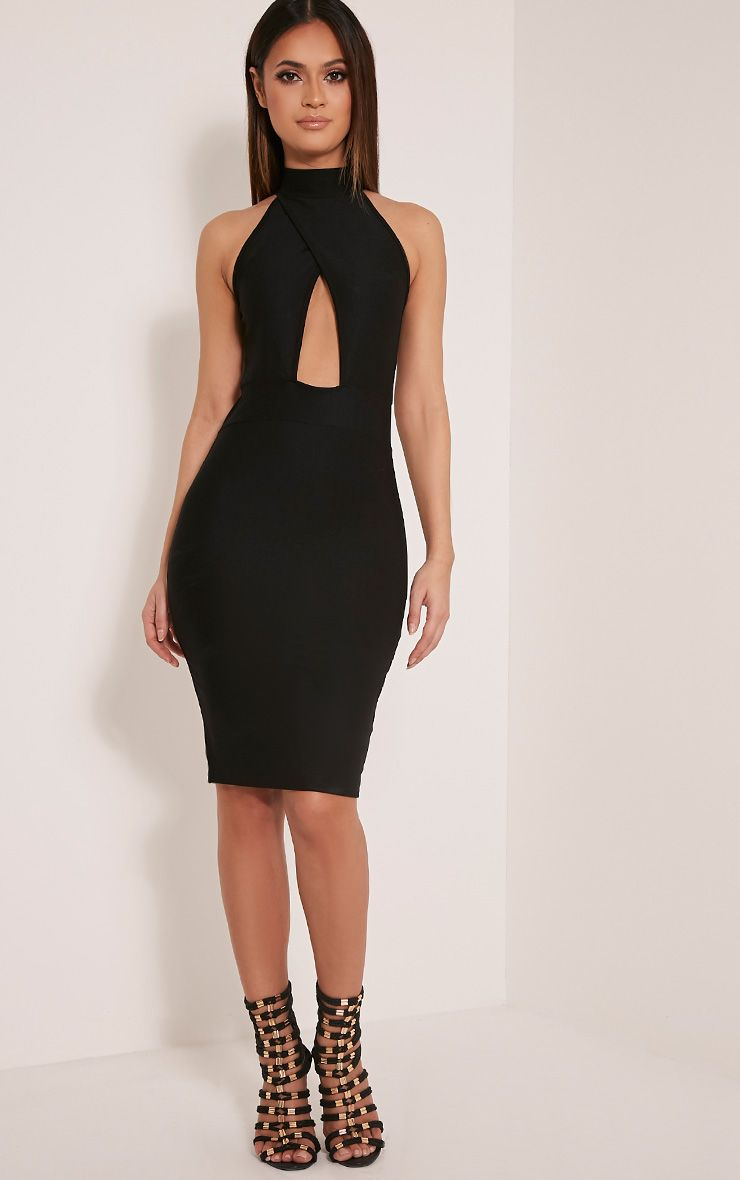 Torie Black Keyhole Wrap Midi Dress