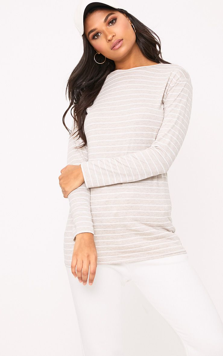 Oatmeal Stripe Longsleeve Crew Neck Top