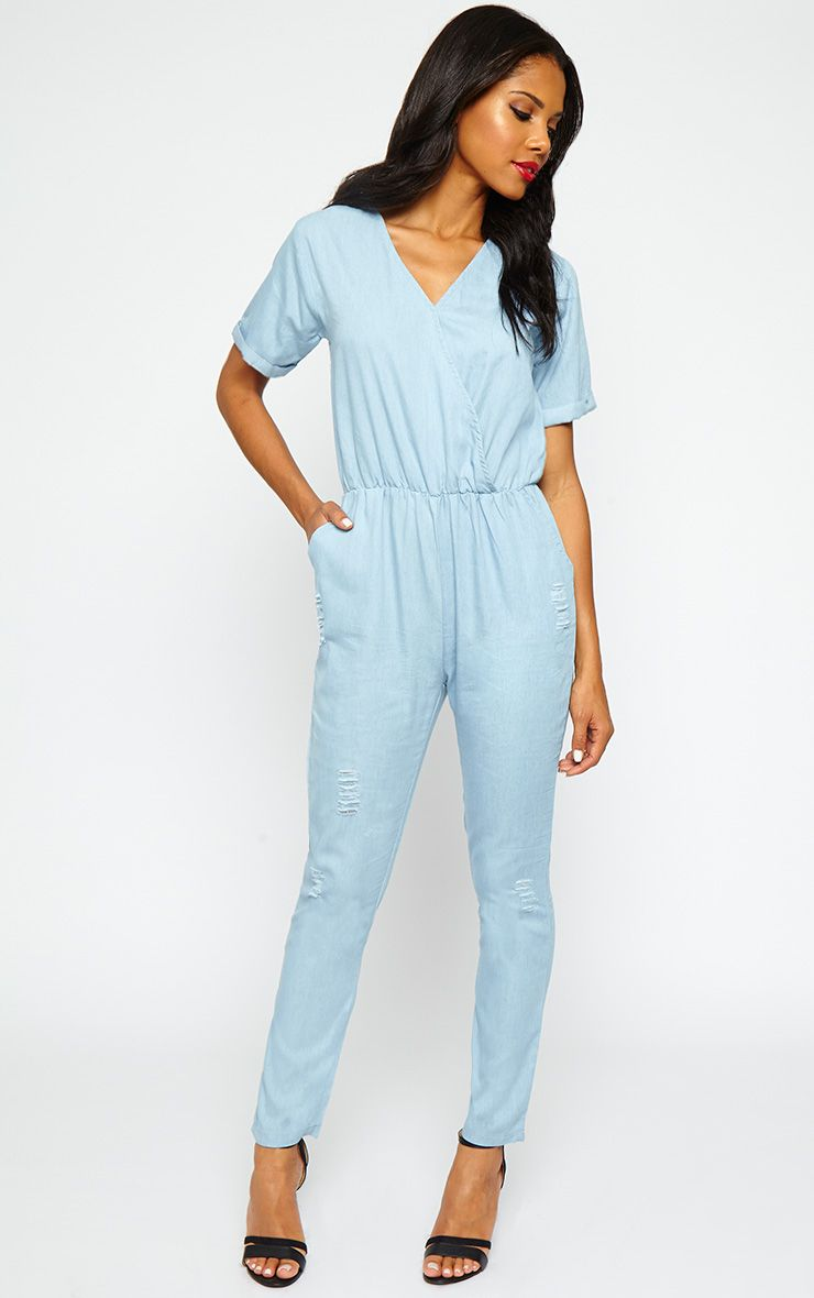 Doshia Blue Denim Wrap Jumpsuit 1