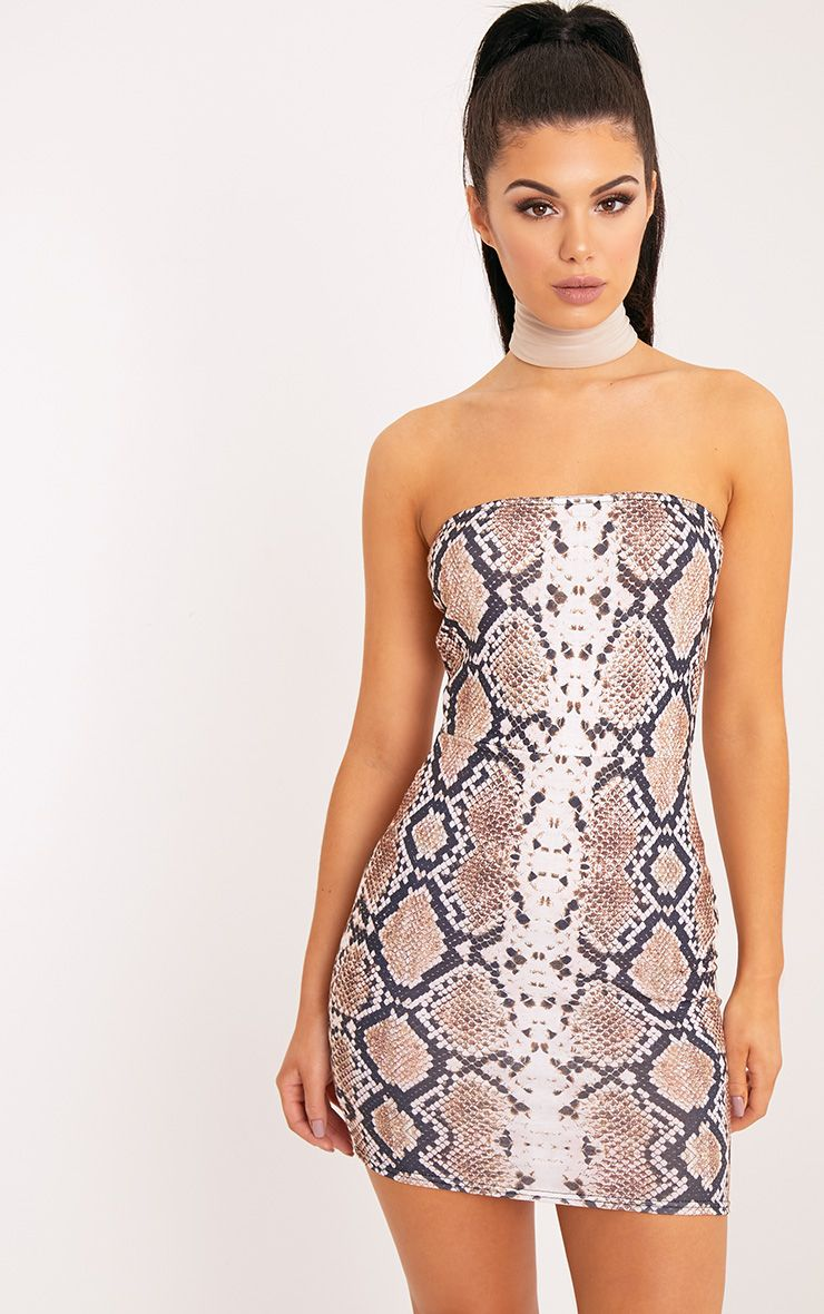 Christia Taupe Snake Print Bandeau Bodycon Dress