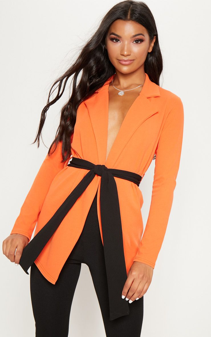 Orange Contrast Tie Blazer