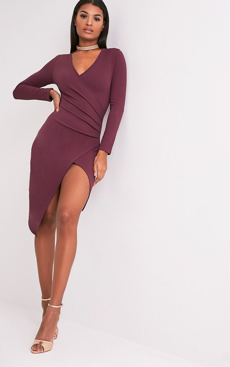 Rosie Aubergine Long Sleeve Wrap Front Midi Dress
