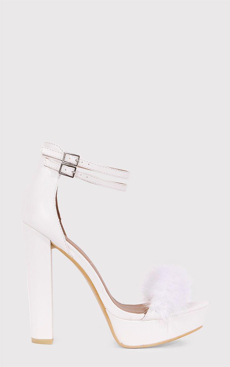 Shea White Fluffy PU Platform Sandals