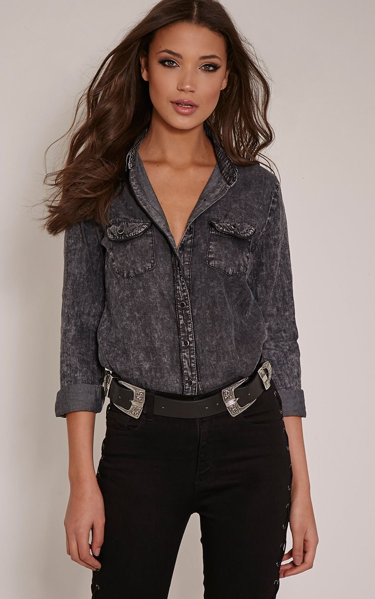 Veenus Black Denim Shirt 1