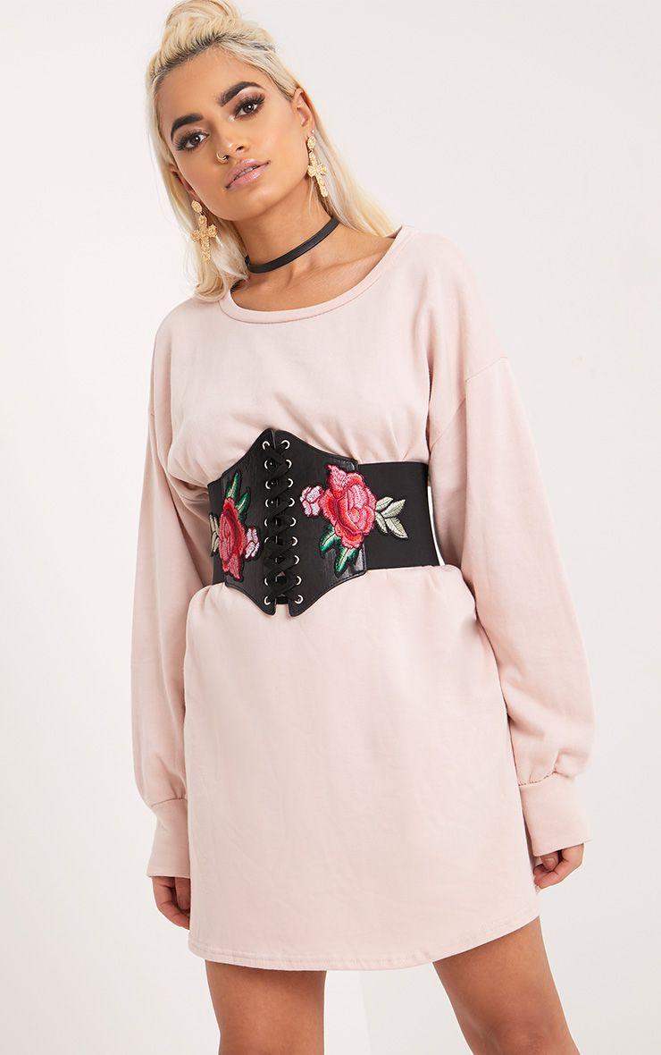 Lifia Black Floral Corset Belt