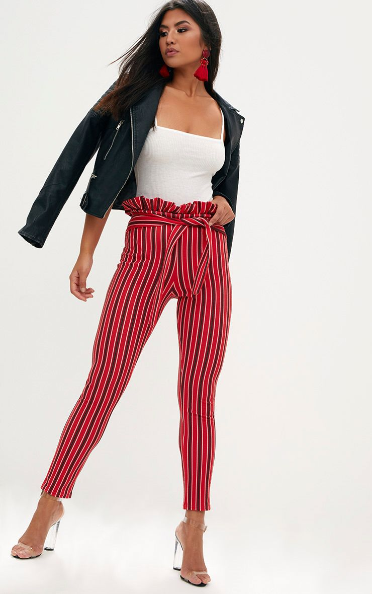 Red Stripe Paperbag Skinny Trousers