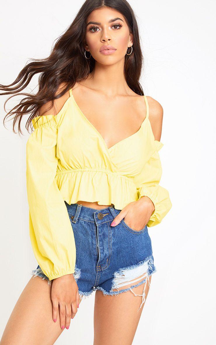 Yellow Cold Shoulder Crop Shirt