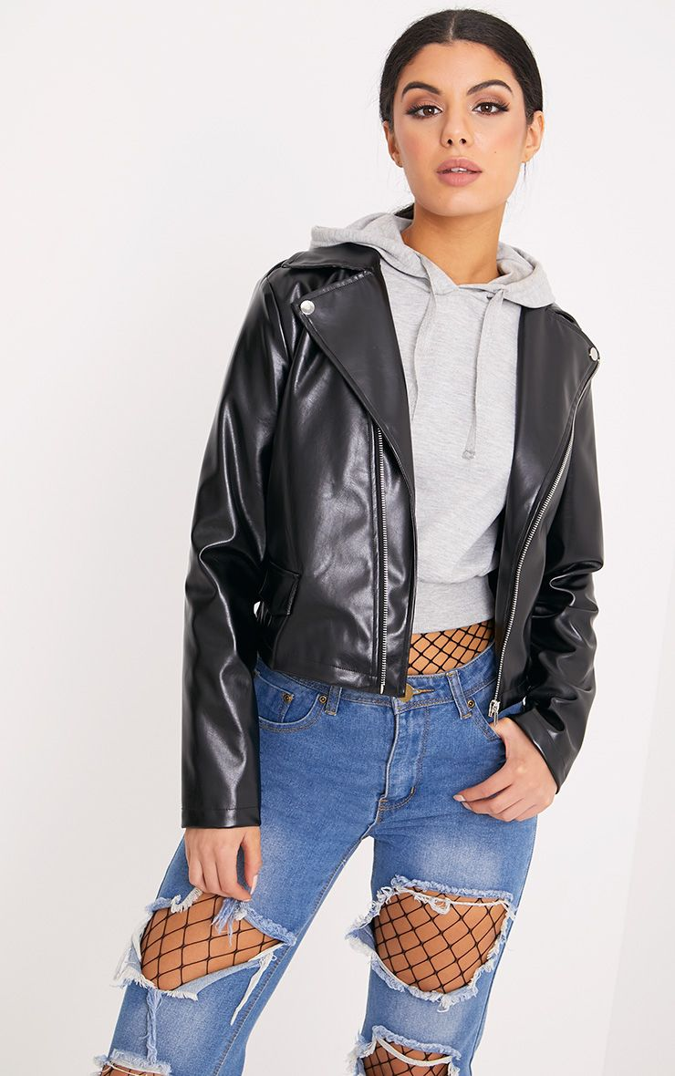 Hollie Black Metallic PU Biker