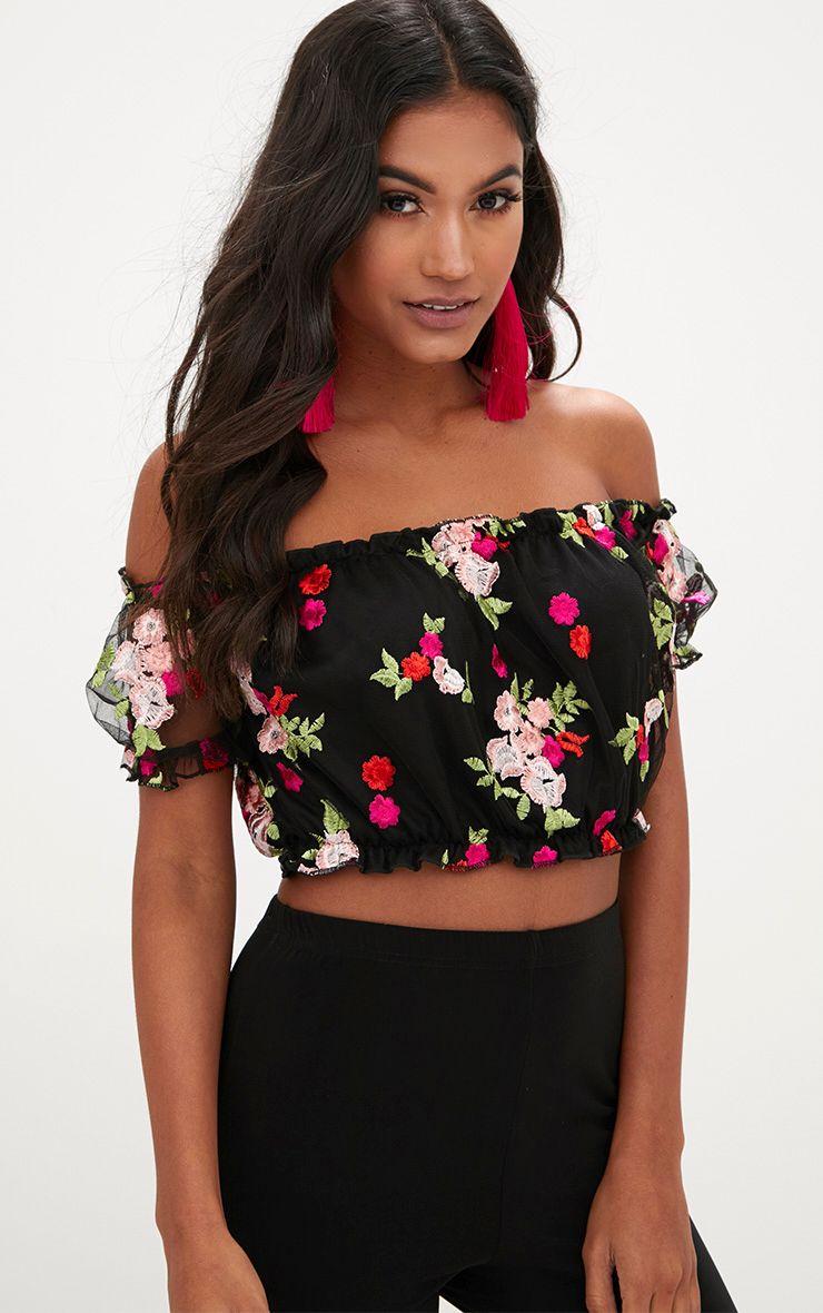 Black Embroidered Floral Mesh Bardot Crop Top