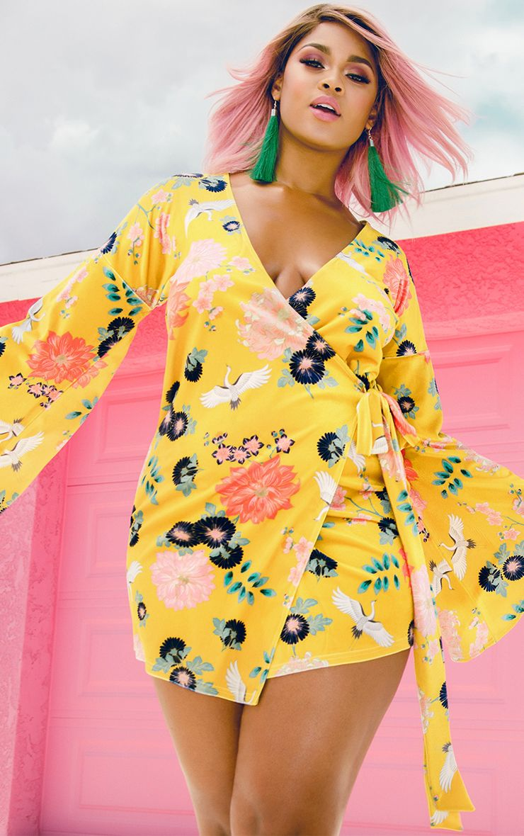 Yellow Print Velvet Wrap Dress