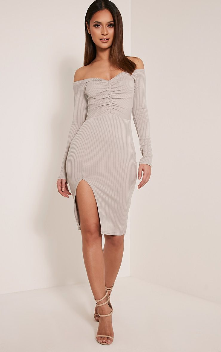 Deelia Grey Ruched Front Ribbed Midi Dress