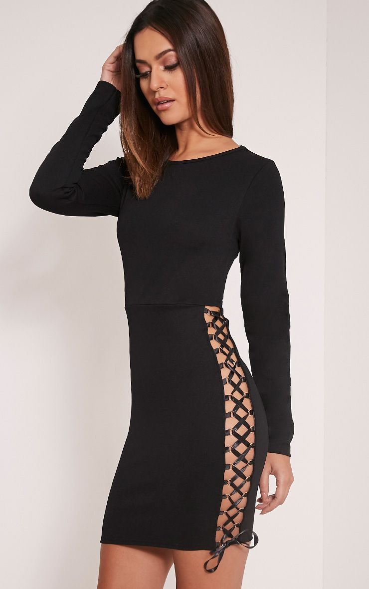 Porsha Black Lace Up Side Bodycon Dress 1