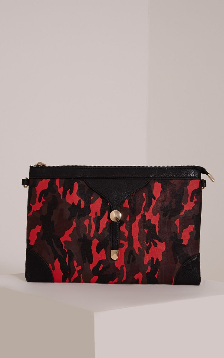 Devin Red Camouflage Clutch Bag Red