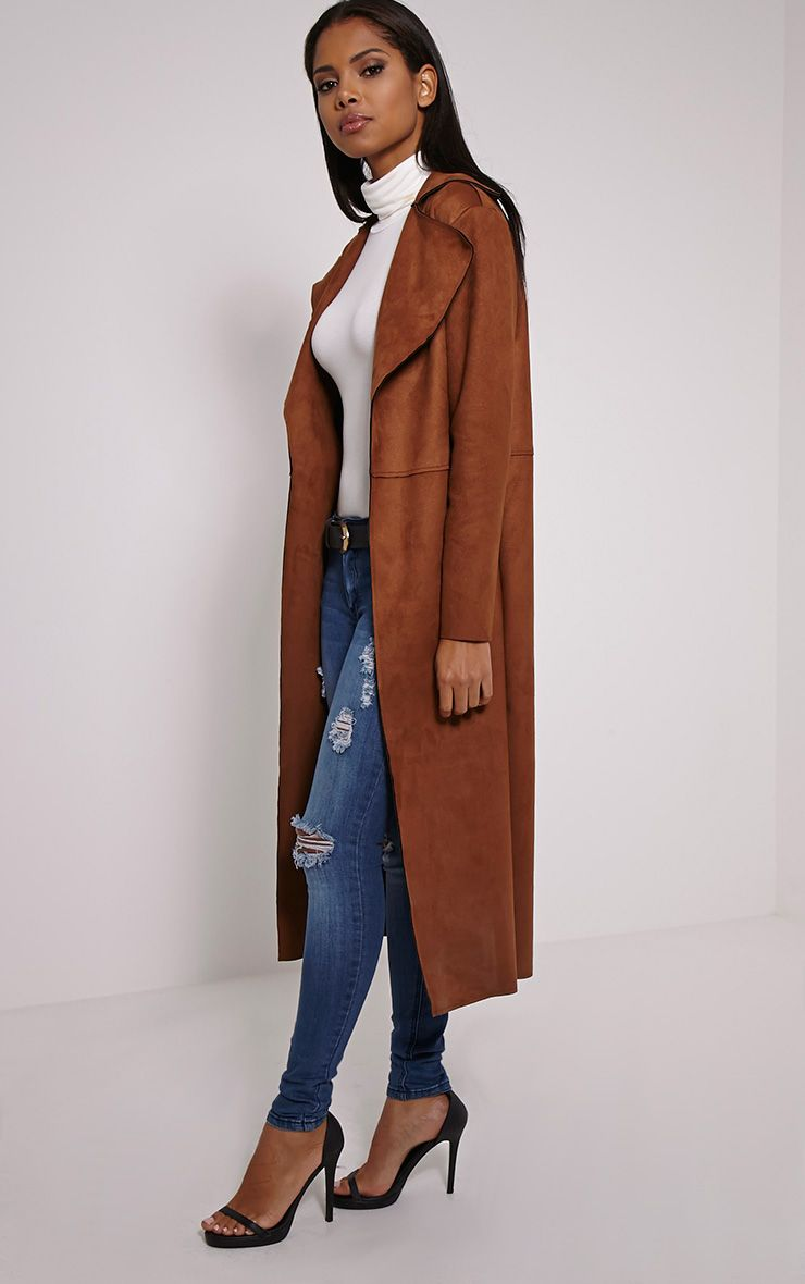 Roberta Tan Faux Suede Oversized Coat 1
