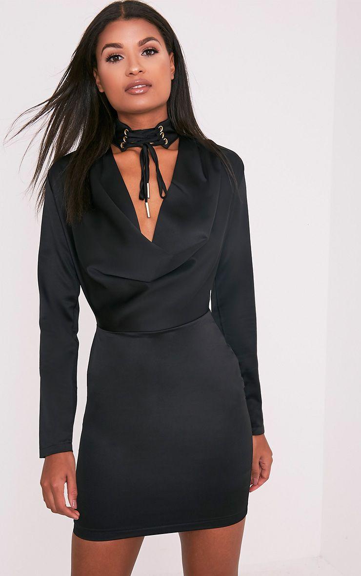 Chrissie Black Lace Up Satin Bodycon Dress 1
