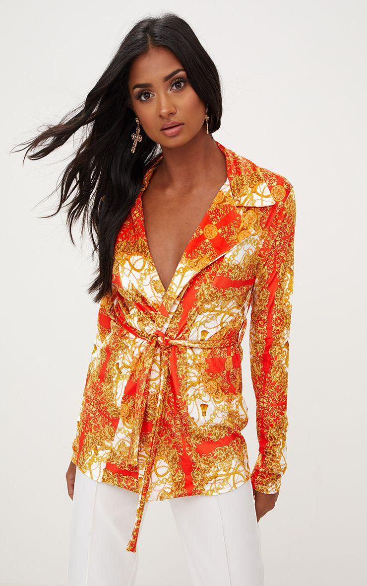 Red Chain Print Velvet Belted Blazer