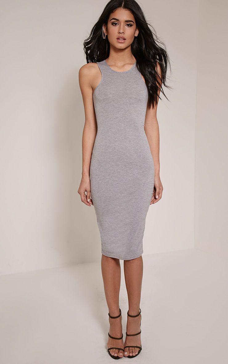Chrissy Grey Marl Lace Up Back Midi Dress 1