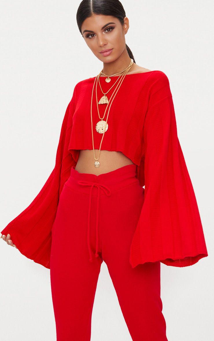 Red Wide Sleeve Stripe Jumper