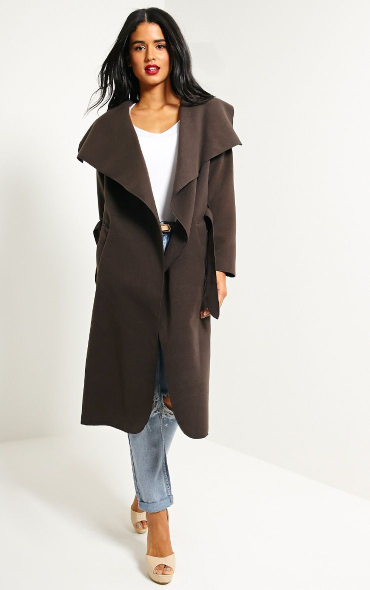 Veronica Chocolate Oversized Waterfall Belt Coat 1