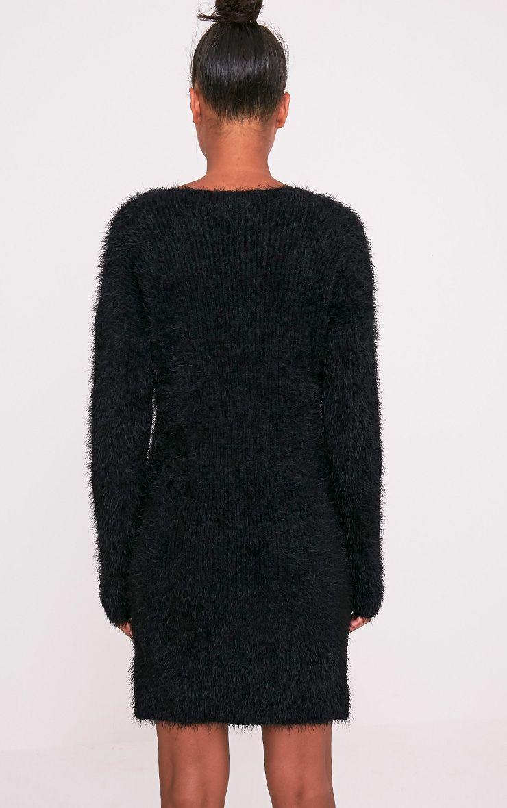 Floraline robe pull noire en mohair à lacets 2