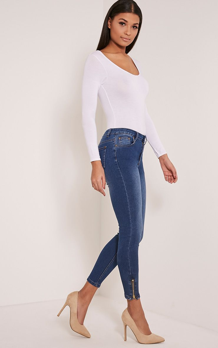 Mid Blue Wash High Waisted 5 Pocket Skinny Jean