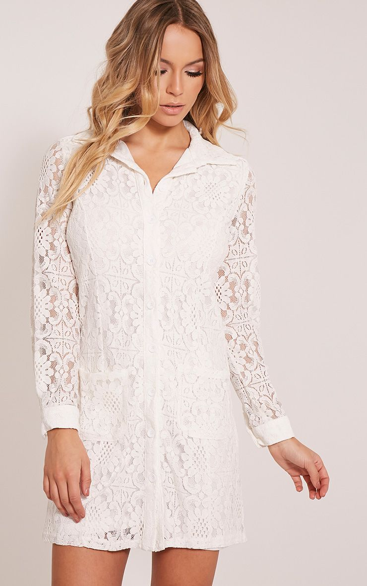 Nayah Cream Lace Shirt Dress 1