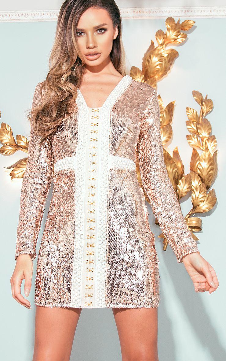 Valencia Rose Gold Premium Embellished Sequin Bodycon Dress