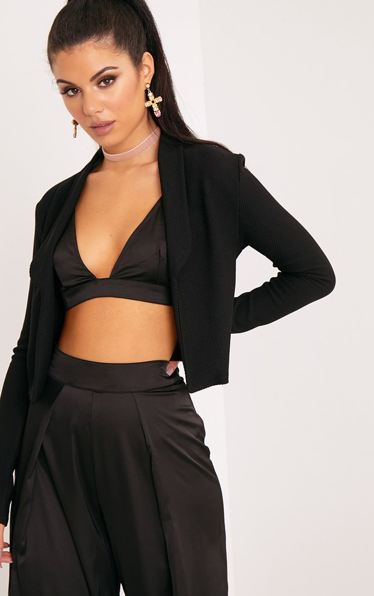 Irie Black Cropped Textured Blazer