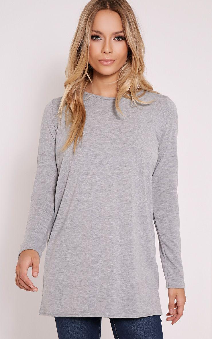 Basic Grey Raglan Sleeve Jersey Top 1