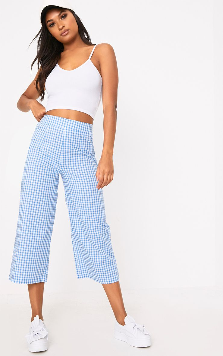 Tazmin Blue Gingham Culottes